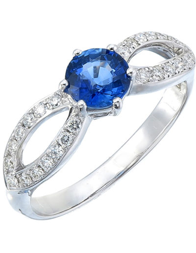 Blue Sapphire Butterfly ring 0.77 ct diamonds 0.20 ct
