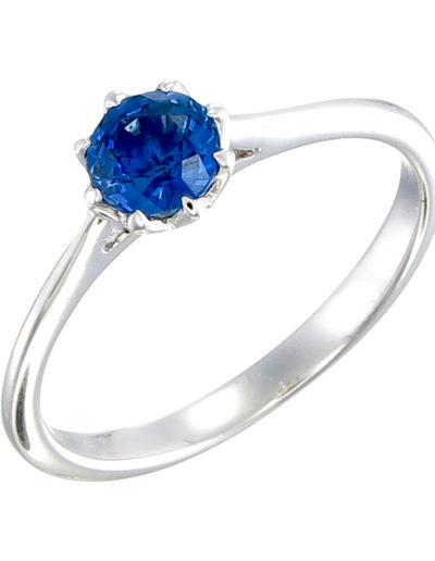 Blue Sapphire lotus ring 0.60 ct