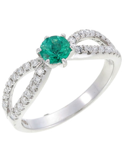 Emerald Butterfly Ring 0,36 ct, Diamonds 0.26 ct