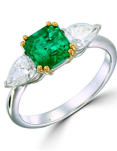 Emerald ring 1.08 ct, Diamonds pear shape 0.61 ct