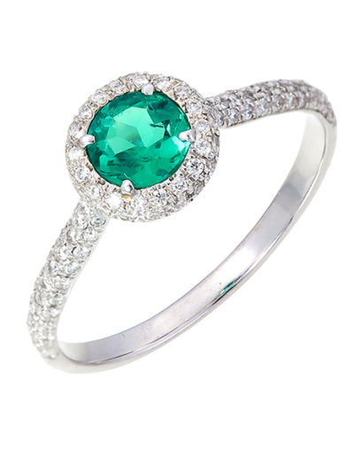 Emerald ring, No Oil, Round 0.37 ct, Diamonds 0.24 ct