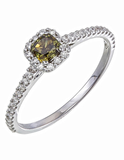 Green Diamond ring 0.31 ct et 0.24 ct