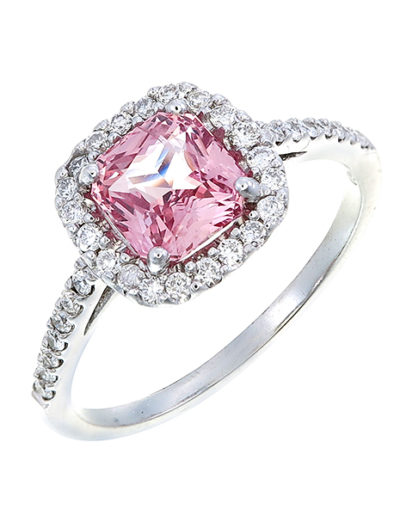 Padparadscha Sapphire cushion ring 1.62 ct, Diamonds 0.32 ct