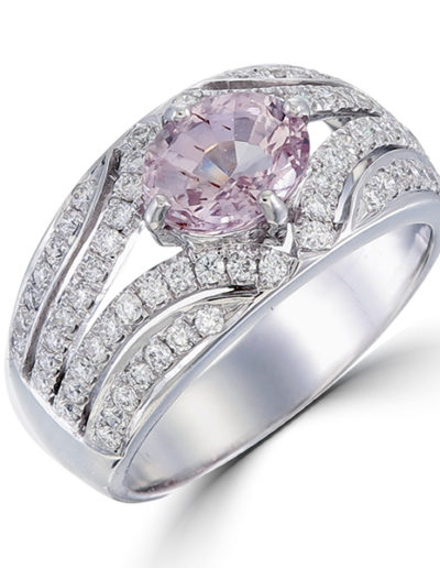 Pink Saphhire Ring 1.16 ct, Diamonds 0.68 ct
