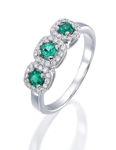 Ring 3 Emeralds 0.26 ct, Diamonds 0.20 ct -3