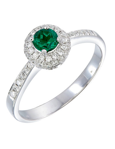 Robin ring, Emerald 0.25 ct, Diamonds 0.25 ct