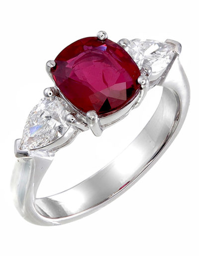 Ruby cushion ring, 2.02 cts, pear Diamonds 0.64 ct