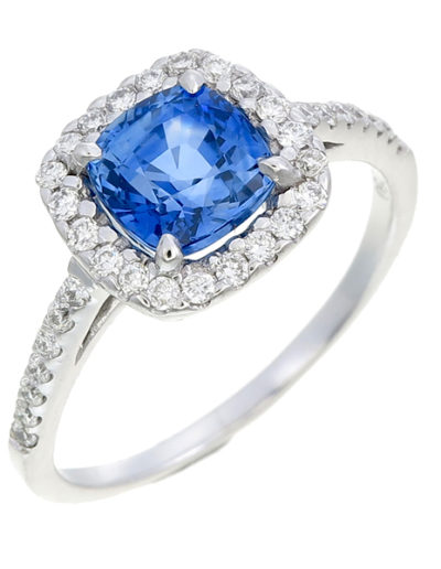 Sapphire ring cushion 1.75 ct, Diamonds 0.31 ct