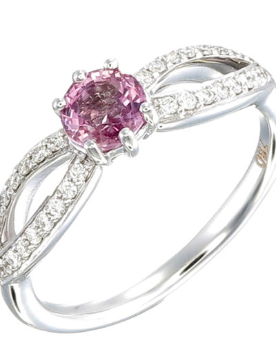Unheated Pink Sapphire Butterfly ring 0.68 ct Diamonds 0.16 ct