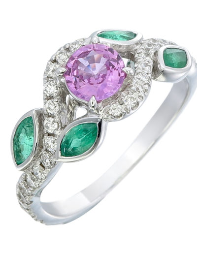 Unheated Pink Sapphire ring 0.49 ct, Emeralds 0.39 ct, Diamonds 0.24 ct
