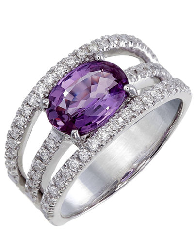 Unheated Pink Sapphire ring, 2.035 cts, Diamonds 0.41 ct